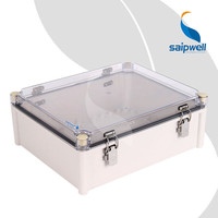 Manufacturer Saipwell High Quality Transparent Cover Electronic ABS Enclosure with Hinge 340*280*130MM
