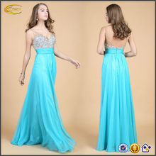OEM wholesale tall Women double v neck empire waist Sequins Chiffon Bridal Evening party Long prom tube sexy dress