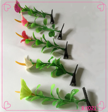 2016 new design hot selling cute girls glass hair clip Bean sprouts hairpins for girls