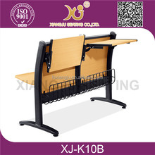 Hot sale in India college student desk and chair,wood double students chair and writting table