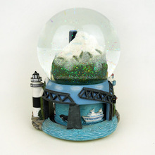 resin custom city and ocean snow globe ,polyresin base crystal ball