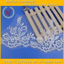L294Z White Embroidery wedding dress sequin lace Bridal Trim Rose Flower cording lace
