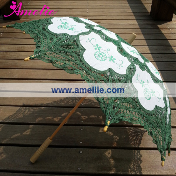 A0101 Christmas  Green lace parasol (3).jpg