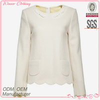 Garment fabric high quality white polyester/wool new fashion blouses for women 2013 with pockets