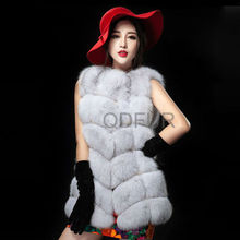 QD29298 Fashion Padded Ladies Real Silver Fox Fur Vest Woman
