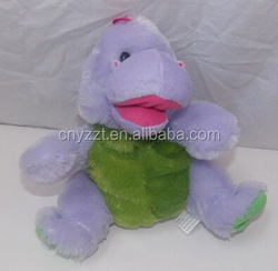 dinosaur hand puppet/hand puppets for sale/Dinosaur Soft Plush Hand Puppet Full Body Stuffed Animal Purple Green