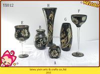 Black Handmade Types Crackle Glass Vase Mosaic Of Flower Vase /Mosaic glass vase For Home Decoration
