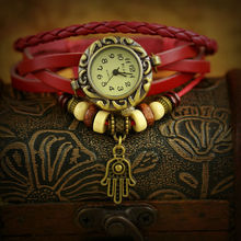 Hot Bronze Pendant Girl Leather Vintage Looking Watches