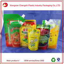 stand type spout plastic bag for liquid and wine packing