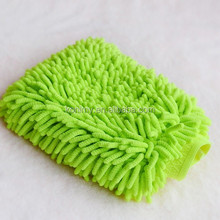 KLM-126 china microfiber manufacturer wholesale double side chenille fabric cleaning car glove