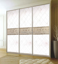Factory direct sales wardrobe 3D glass sliding closet doors with Honeycomb panel