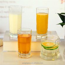 Hexagonal square water glass cup straight long juice milk glassware