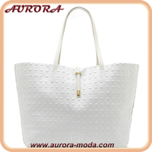 Embossed square PU leather tote bag women