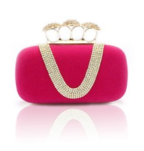2015 Wholesale Factory price Women crystal diamond swarovski Velvet hard case evening ring party clutch bag