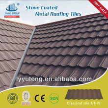 Colorful stone coated steel roof tiles