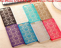 Retro Palace Hollow Flower Print Case PC Hard Shell Clear Phone Back Cover for iPhone 5/5S 6 6Plus