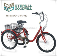"""Hot sale three wheel bike/tricycle/bicycle NY-GW7012-6SPX24"""" tricycle from China for bike geeks and users"""