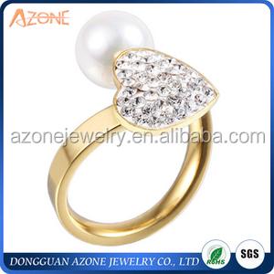 Mediados del anillo de dedo de acero inoxidable chapado en oro al por mayor de alibaba