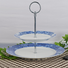 2 level layer porcelain cake plate with decal cake stand with handle 2 tire cake holder with fitting for wedding party
