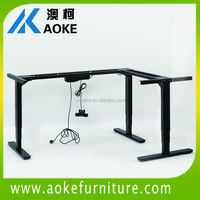 L shaped corner sit to stand exclusive workstation with metal table legs