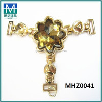 Turkey hot design decorative metal trim with glass flowers for sandals MHZ0041