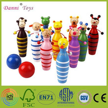 New Arrival Animals Children Wooden Mini Bowling Set Toy