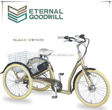 elrectric tricycle with rear basket GW7019E 7 speeds trike 24 inch 3 wheel pedal cargo bike