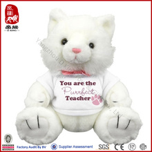 China wholesale stuffed toy teddy bear in T-shirt plush white teddy bear