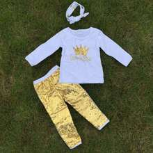 2-7t FALL/Winter kids OUTFITS crown gold sequins pant sets girls hot sell cute clothes kids with matching headband set