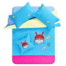 lovely 100% cotton coloful beautiful blue and pink cartoon girl printed comfortable bedding set