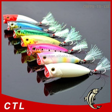 fishing lure 70mm 13.5g 3D eyes popper bait Feather three anchor hook refecting laser fishing lures wholesale