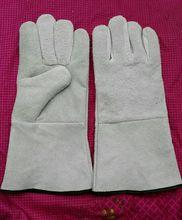 LIGHT GRAY cow split leather glove
