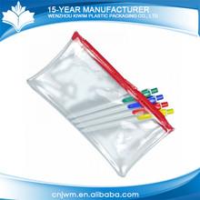 Transparent China manufacturer waterproof zipper pvc pencil bag