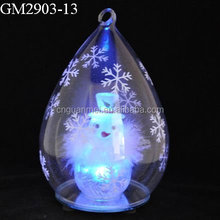 glass art factory supplier decorative orbs with snowman inside wholesale