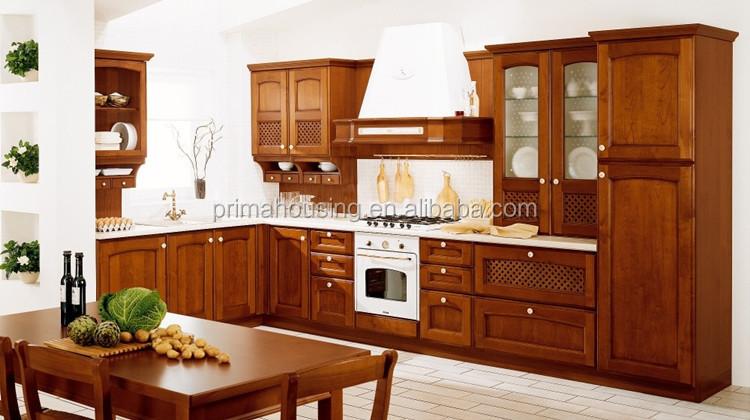 Madera de teca mueble cocina mueble cocina puertas de vidrio ...