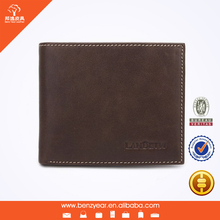 Factory wholesale designer Brown Soft Emboss Custom Logo Man Wallet 100% Genuine Leather