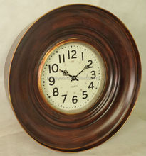 round antique brown metal big wall clock with glass