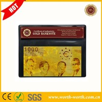Promotion gift European 24K 1000 EURO Banknote, Gold Plated Banknote With COA Frame for wholesale