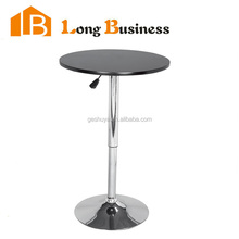 LB-5023 Modern Adjustable Round Stainless Leather High Bar Table with MDF Lacquer