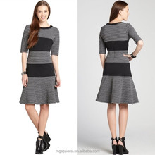 women grey and black knit dress striped three quarter sleeve dress fit and flare dress