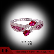 charming micro pave red cz silvertone 22k gold bangles