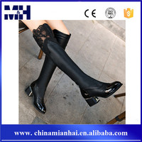New arrival winter fashion trend PU lace upper high heels long knee women leather boots