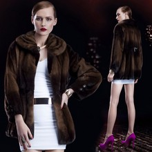 dark brown long women knitted mink fur jacket coat with stand collar