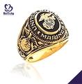 Generosos anillos militares personalizados bañados en oro de los Marines de los Estados Unidos