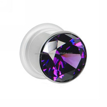 Tanzanite Purple Stainless Steel Pressed Ear Gem Tunnel Jewelry