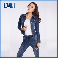 Dark wash long sleeves wholesale denim jackets