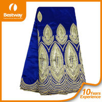 India Embroidery George Wrappers Royal Blue Raw Silk George Fabrics Beaded Raw Silk George 5Yrs GP0039