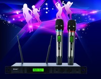 Dual channels wireless microphone, 700MHz~800MHz frequency operation distance100 m with ID validate and IR,