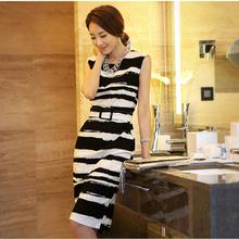 EY0121D White & Black Stripes Maxi Racerback Long Summer Beach Women Dress