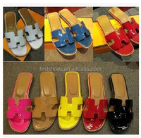 Fashion H Brand Designer Soft Genuine Leather Women Flats Sandals Loafers Slippers Flip Flops Shoes Women's Plus Size 42